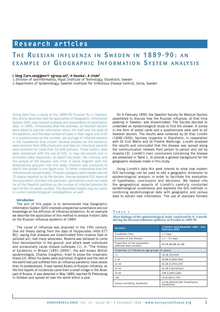 Presentation and paper on GIS and the Russian Influenza