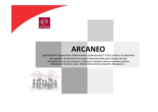 ARCANEOspécialistedel'organisationd'événementsprofessionnels*àfortcontenuetspécialiste       delagestiondedi...