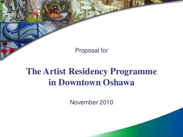 Presentation artscape, Artist in Residence Program