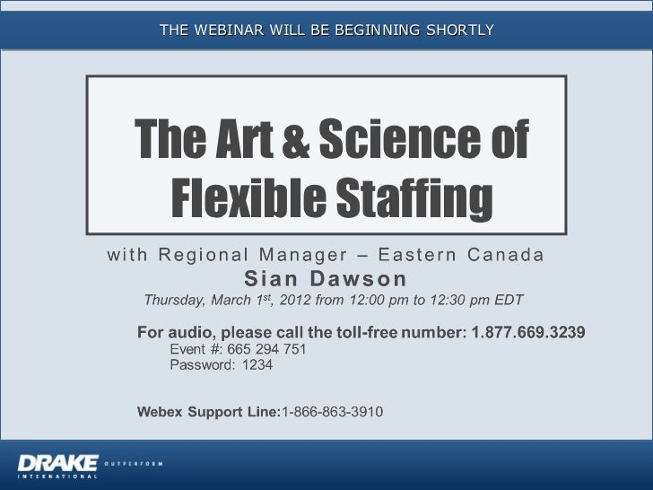 THE WEBINAR WILL BE BEGINNING SHORTLYThe Art & Science of  Flexible Staffing