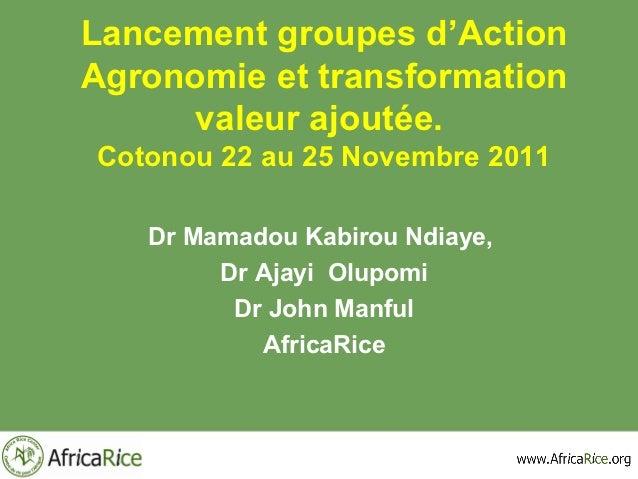 Lancement groupes d'ActionAgronomie et transformation      valeur ajoutée.Cotonou 22 au 25 Novembre 2011   Dr Mamadou Kabi...