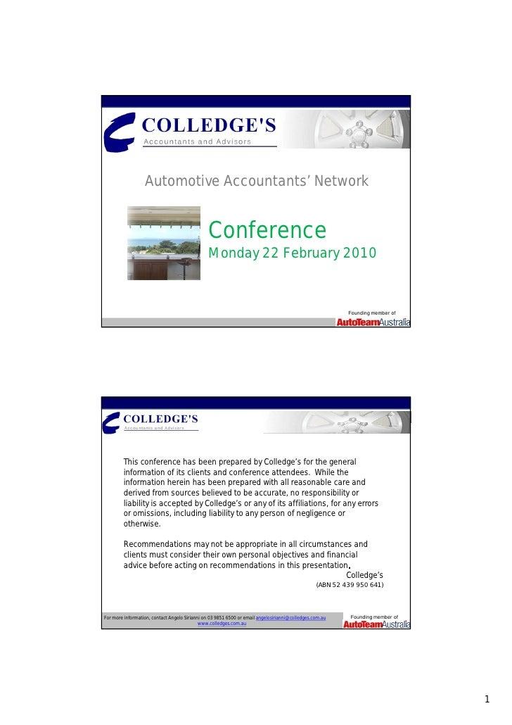Automotive Accountants' Conference: 22 February 2010