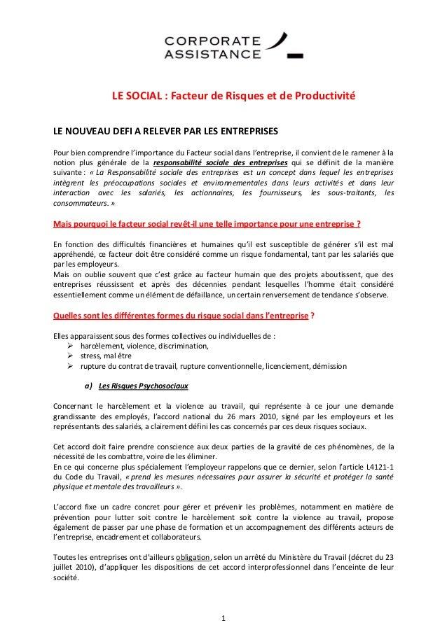 LE SOCIAL : Facteur de Risques et de ProductivitéLE NOUVEAU DEFI A RELEVER PAR LES ENTREPRISESPour bien comprendre l'impor...