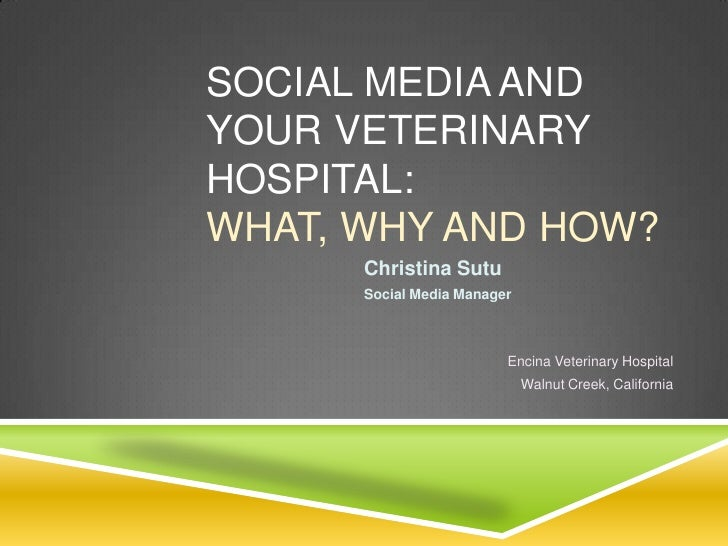 SOCIAL MEDIA ANDYOUR VETERINARYHOSPITAL:WHAT, WHY AND HOW?      Christina Sutu      Social Media Manager                  ...