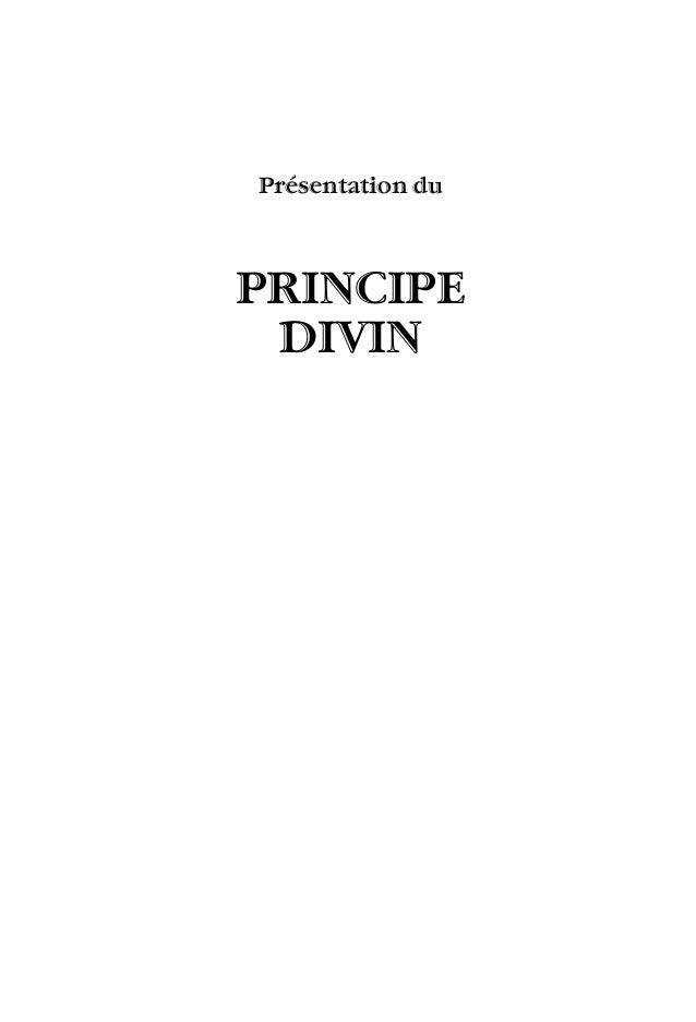 Présentation du PRINCIPE DIVIN