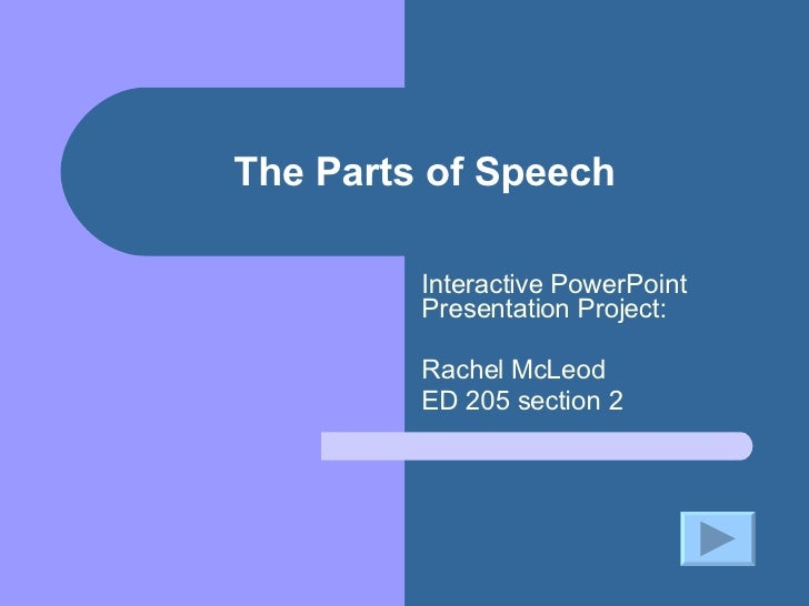 The Parts of Speech Interactive PowerPoint Presentation Project: Rachel McLeod ED 205 section 2