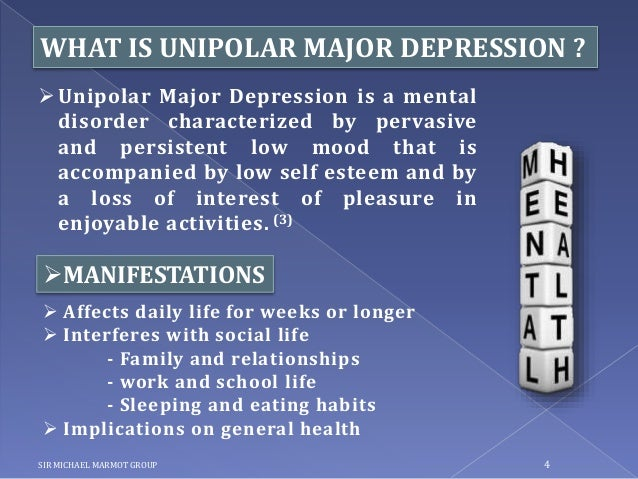 unipolar depression and bipolar disorder Depression is the most common of mental disorders, with roughly 5 to 10% suffering from severe unipolar depression each year (this statistic is known as a 'point prevalence'), and about 17% of adults experiencing some form of depression at some point in their lives.