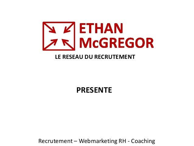 LE RESEAU DU RECRUTEMENT Recrutement – Webmarketing RH - Coaching PRESENTE