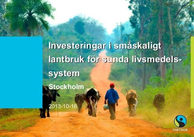 Investeringar i småskaligt lantbruk för sunda livsmedelssystem Stockholm 2013-10-16