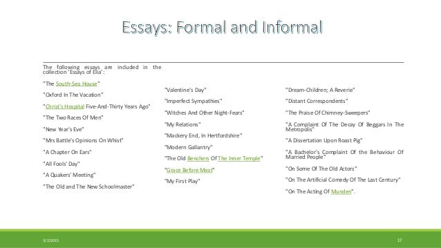 in essay form Essay: essay, an analytic, interpretative, or critical literary composition usually much shorter and less systematic and formal than a dissertation or thesis and usually dealing with its subject from a limited and often personal point of view some early treatises—such as those of cicero on the.