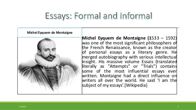 An informal essay attempts to entertain