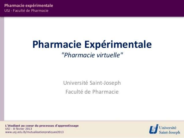 "Pharmacie expérimentaleUSJ - Faculté de Pharmacie                Pharmacie Expérimentale                             ""Phar..."