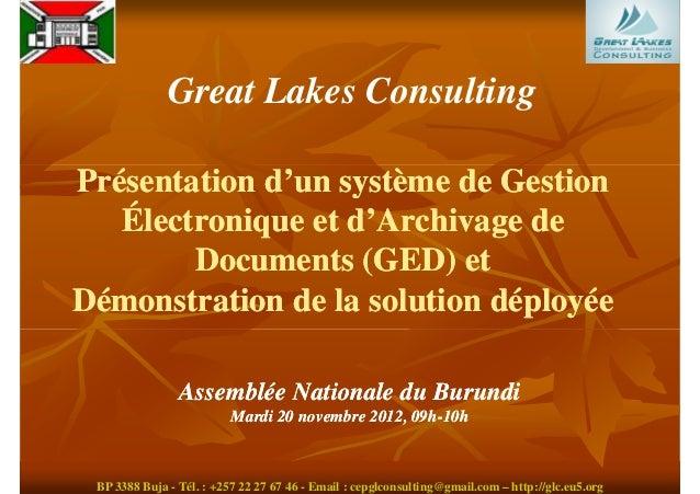 Great Lakes ConsultingPrésentation d'un système de Gestion   Électronique et d'Archivage de        Documents (GED) etDémon...
