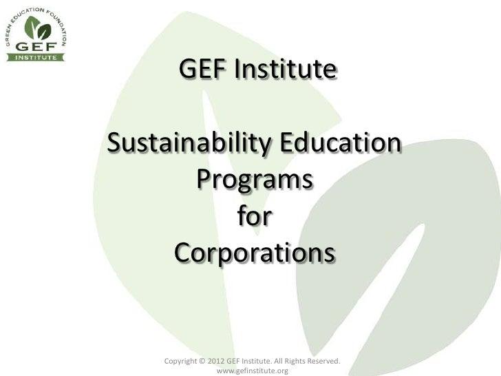 GEF Institute Sustainability Workforce Development