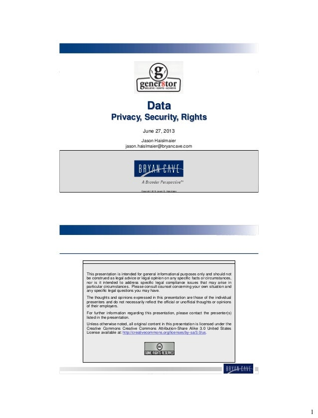 Presentation - gener8tor - Data Privacy, Security, and Rights 130627