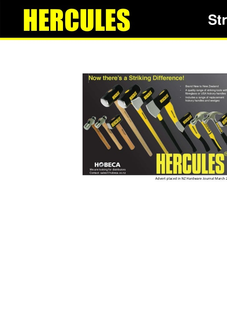 HERCULES                                  Striking Tools           Advert placed in NZ Hardware Journal March 2011