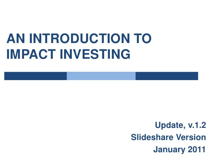 A Primer on Impact Investing