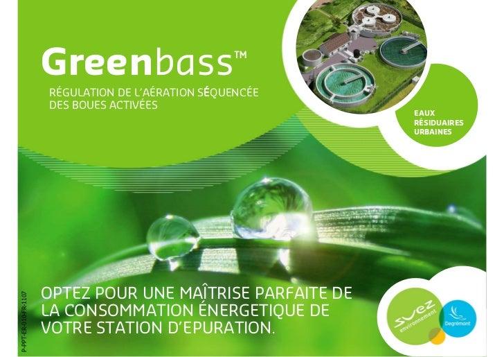 Greenbass, régulation de l aération séquencée des boues activées