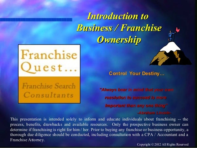 Introduction To Business / Franchise Ownership