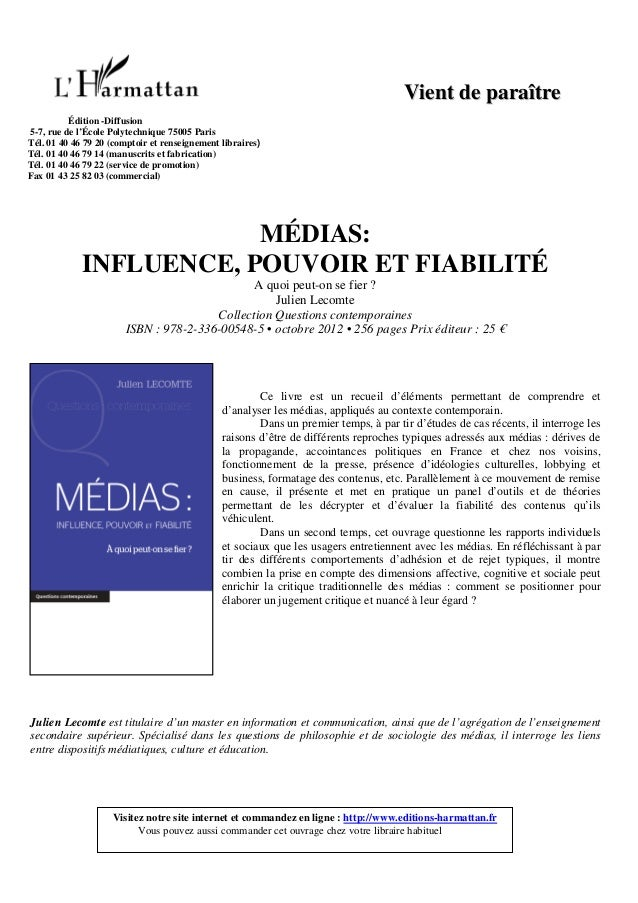 """Presentation """"Médias : influence, pouvoir et fiabilité"""""""