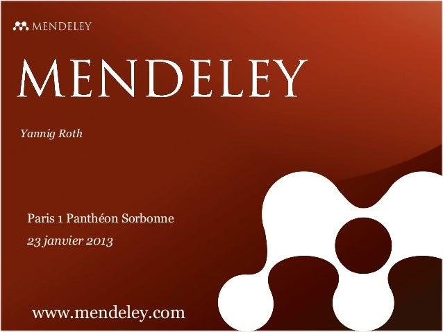 Presentation de Mendeley à la Sorbonne