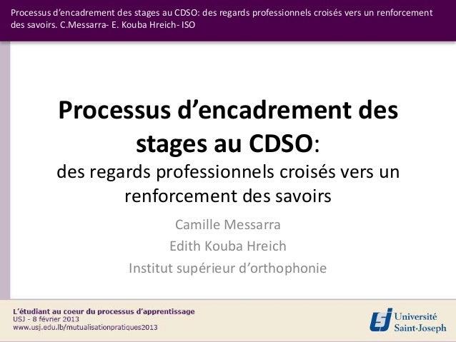 Processus d'encadrement des stages au CDSO: des regards professionnels croisés vers un renforcementdes savoirs. C.Messarra...