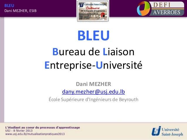 BLEUDani MEZHER, ESIB                                BLEU                     Bureau de Liaison                    Entrepr...