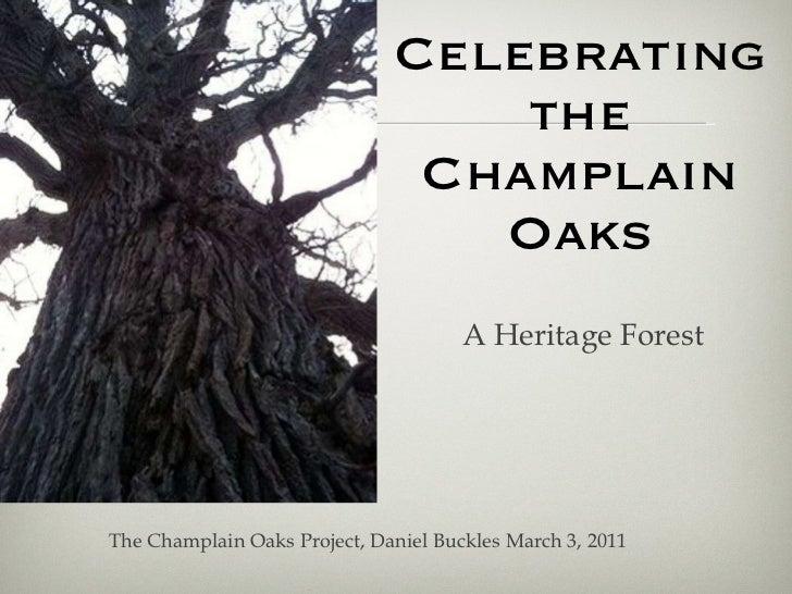 Celebrating the Champlain Oaks <ul><li>A Heritage Forest </li></ul>The Champlain Oaks Project, Daniel Buckles March 3, 2011