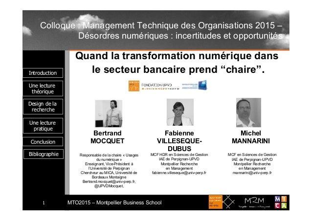 Introduction Une lecture théorique MTO2015 – Montpellier Business School1 Une lecture pratique Conclusion Design de la rec...