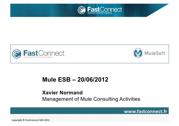 Mule ESB – 20/06/2012                                      Xavier Normand                                      Management ...