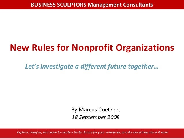 New rules for nonprofit organizations