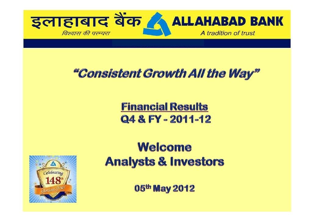 ALLAHABAD BANK PERFORMANCE 31 Mar 2012