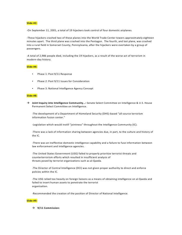 Slide#2:  ‐OnSeptember11,2001,atotalof19hijackerstookcontroloffourdomesticairplanes.  ‐Thesehijacker...