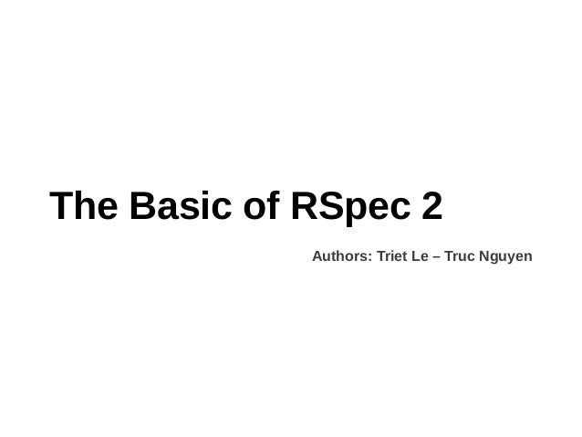 Basic RSpec 2