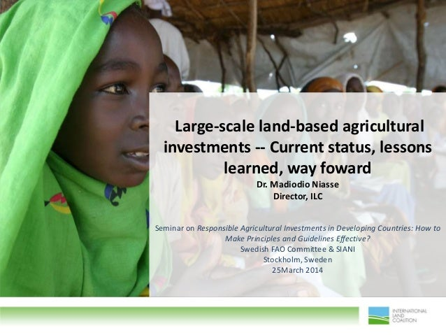 """Large-scale land-based agricultural investments -- Current status, lessons learned, way foward"" by Dr. Madiodio NiasseDirector, ILC"
