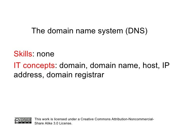 The domain name system (DNS) Skills : none IT concepts : domain, domain name, host, IP address, domain registrar This work...