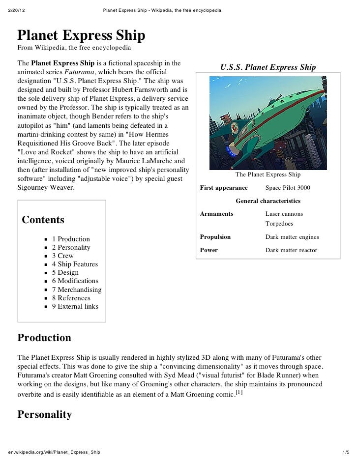 2/20/12                                     Planet Express Ship - Wikipedia, the free encyclopedia    Planet Express Ship ...