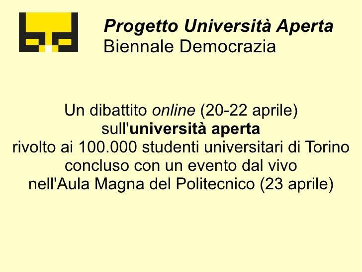 """Presentazione progetto """"Università Aperta"""" di Biennale Democrazia"""