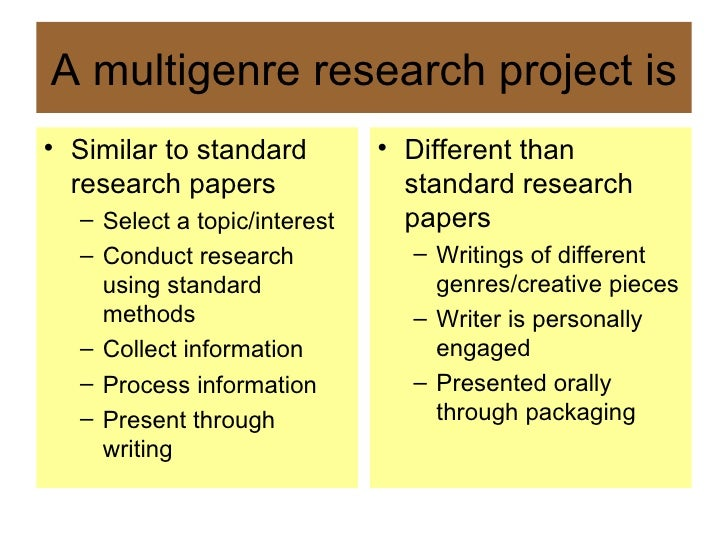 mutli genre research paper Multigenre research projects   in addition to many genres, a multigenre paper may  i really don't understand how a multi‐genre paper gets a .