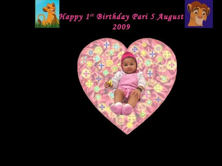 Happy 1 st  Birthday Pari 5 August 2009