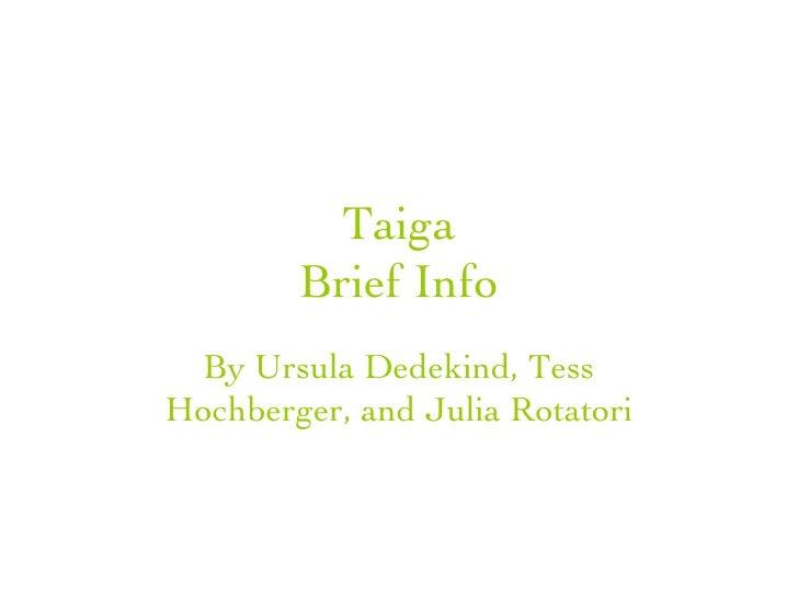 Taiga Biome (Boreal Forest) INFO