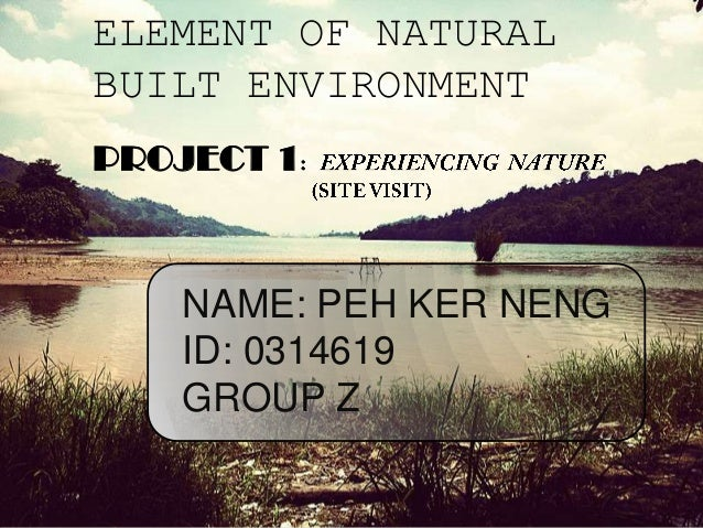 ELEMENT OF NATURALBUILT ENVIRONMENTPROJECT 1NAME: PEH KER NENGID: 0314619GROUP Z