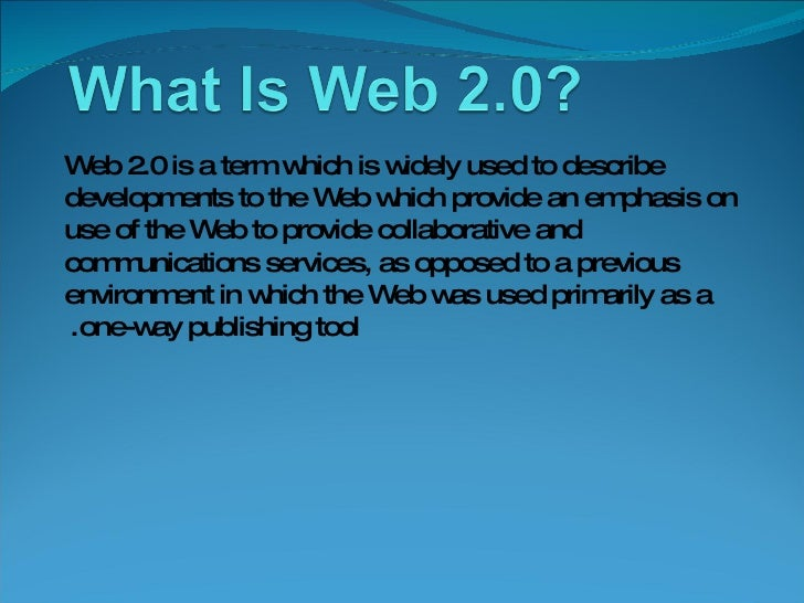 Web 2.0 is a term which is widely used to describe developments to the Web which provide an emphasis on use of the Web to ...