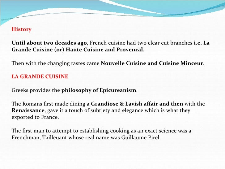 French cuisine an over view - The history of french cuisine ...