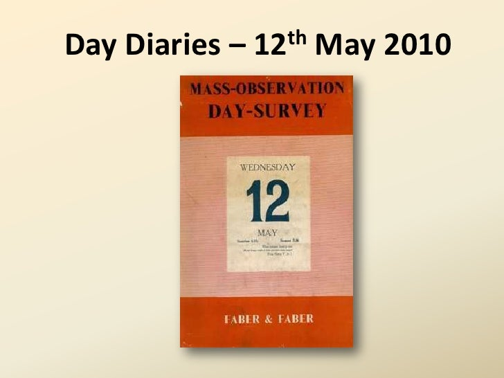 12th May 2010 Diaries