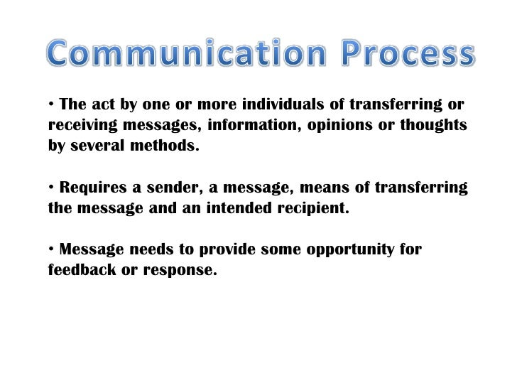 Communication Process<br /><ul><li> The act by one or more individuals of transferring or </li></ul>receiving messages, in...