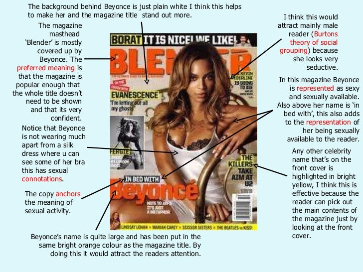 The magazine masthead  ' Blender' is mostly covered up by Beyonce. The  preferred meaning  is that the magazine is popular...