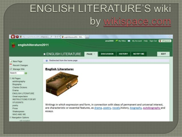 ENGLISH L| TERATURE'S Wiki  ama|2DOO — R My Vifiklsr — — MyAccount' Help — Sign Out    englishliterature2011  a New Page 1'...
