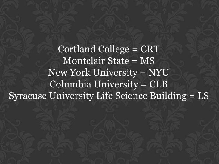 Cortland College = CRT<br />Montclair State = MS<br />New York University = NYU<br />Columbia University = CLB<br />Syracu...