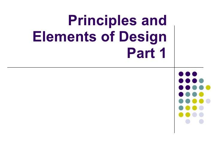 Principles & Elements Part 1
